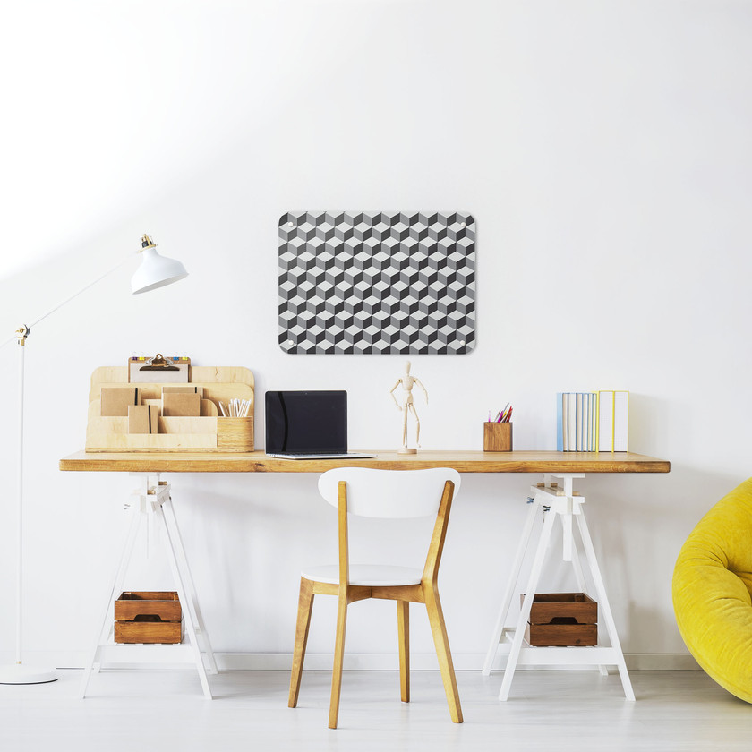 Small sized grey Blocks design magnetic board in a workspace setting