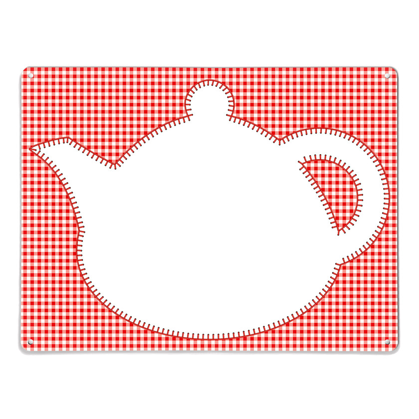 Red Gingham Teapot Dry Wipe Magnetic Notice Board