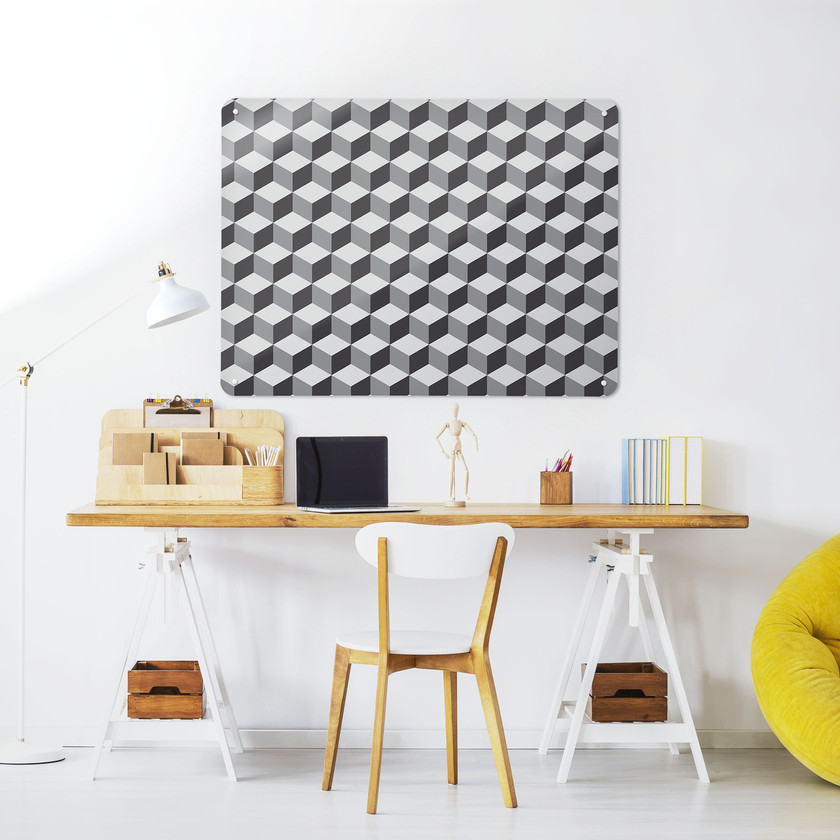 Large sized grey Blocks design magnetic board in a workspace setting