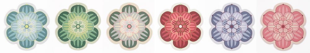 Complete colour range of Succulent Design Placemats from Perfect Setting including teal. bright green' subtle green, maroon. dusky mauve and pink