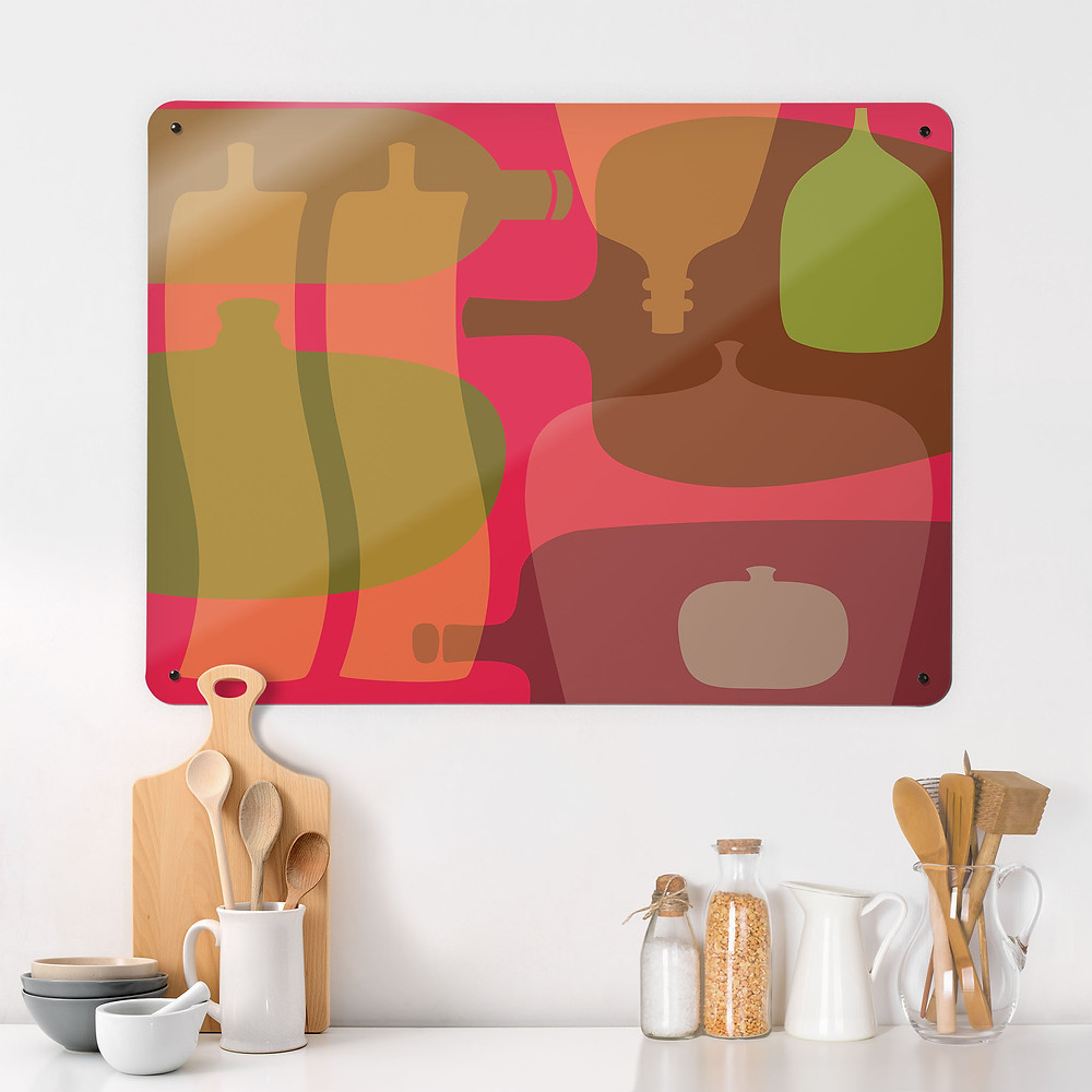 Coloured Bottles design large magnetic board in a kitchen setting