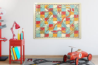 snakes and ladders magnetic board game in kid's bedroom