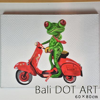 BALI ドットアート/バイクかえる[60×80cm]