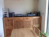大阪 家具屋 羽曳野 南大阪 インテリア 雑貨 バリ アジアン リゾート 直輸入 海外 オリジナル オーダー家具 木 チーク 無垢 サイドボード オーダーメイド 収納 ダイニング KANMURYOU 施工例