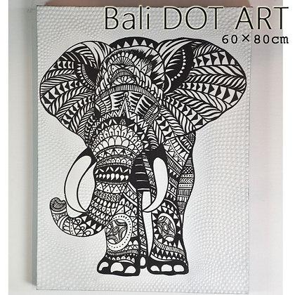 BALI ドットアート/モノトーンエレファント[80×60cm]