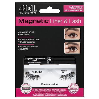 Kit de Faux-Cils magnétique avec Liquid (Feutre) Eyeliner Accent 002