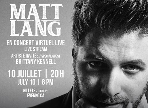 LASSO présente en collaboration avecSiriusXM : Matt Lang concert virtuel