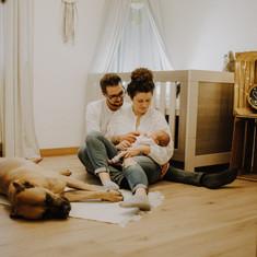 Newbornshooting Samuel mit Susanna und M
