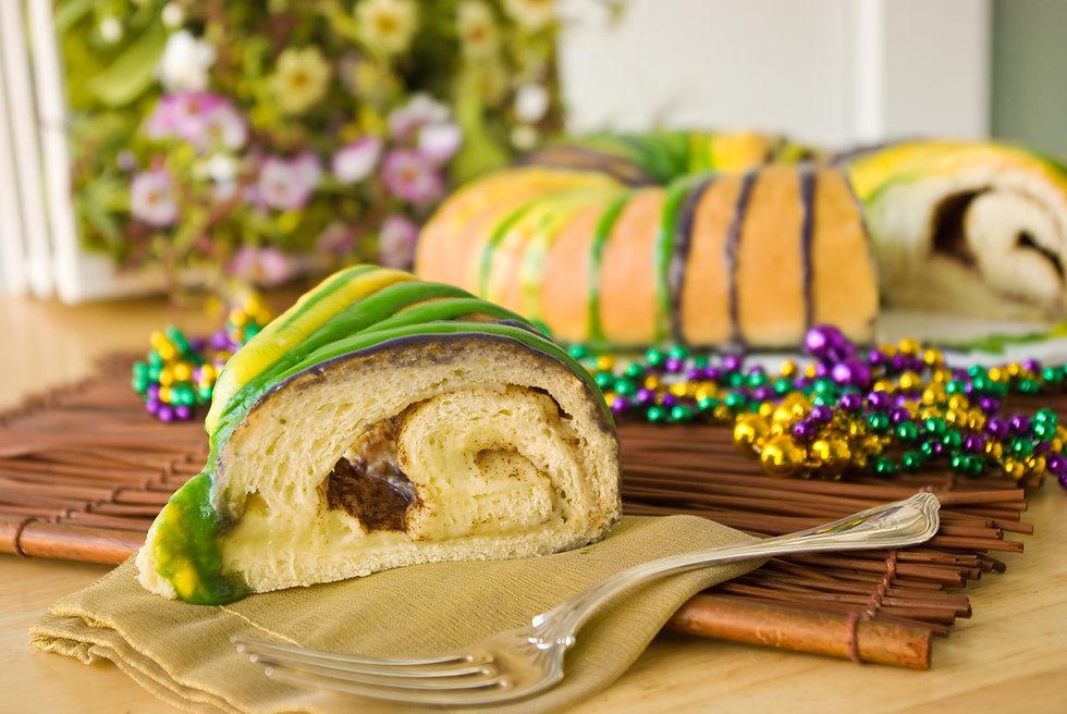 Slice of Mardi Gras King Cake - Slice of