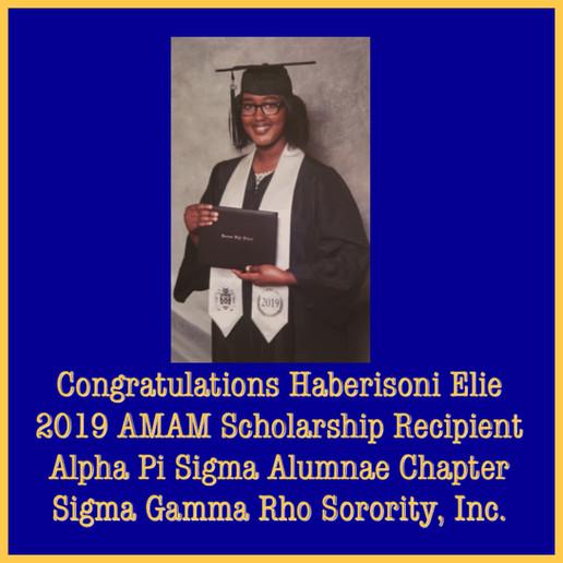 AMAM 2019 Scholarship Recipient Haberiso
