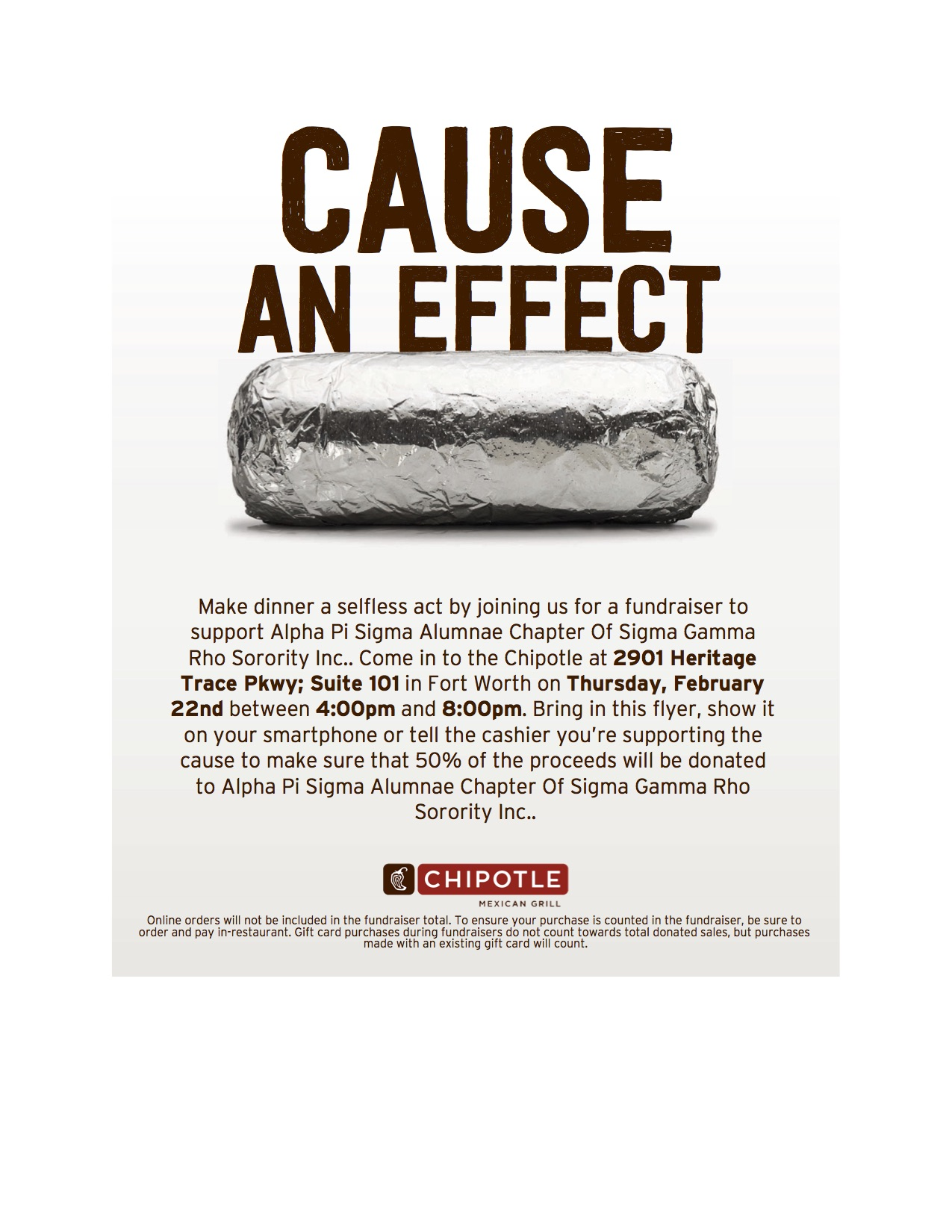 SGRho Fort Worth Chipotle Fundraiser 2.22.18