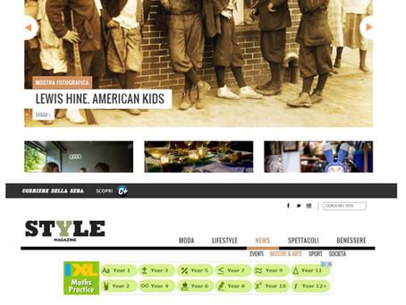 """Style.it dedica un ampio spazio alla nostra mostra """"Lewis Hine. American Kids"""" anche in home page"""