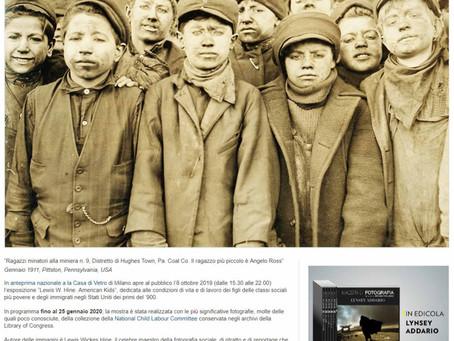 "NationalGeographic.it segnala la mostra ""Lewis Hine. American Kids"" anche nella home page"
