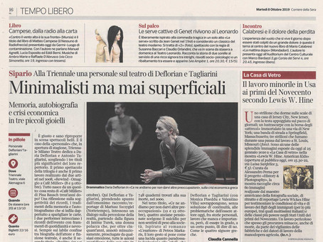 """Corriere della sera Milano in edicola con un box sulla nostra mostra """"Lewis Hine. American Kids"""""""