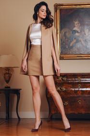 Cashmere Cape / Silk Blouse / Cashmere Skirt