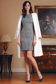 Pied-de-Poule Dress and Cashmere Coat