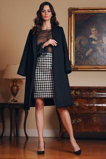 Cashmere Coat / Chiffon Blouse / Pied-de-Poule Skirt