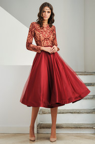 Red Duchess and Tulle Dress