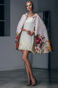 Floral Cape and Hand Embroidered Crepe Dress