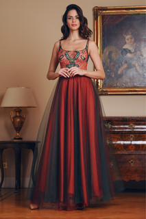 Hand Embroidered Tulle Long Dress