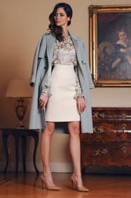 Cashmere Coat / Chiffon Blouse / Crepe Skirt