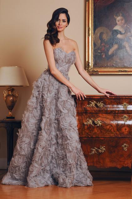 3D Silk Organza Long Dress