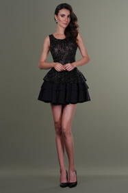 Hand Ruffles Emboidered Top and Short Pleated Skirt