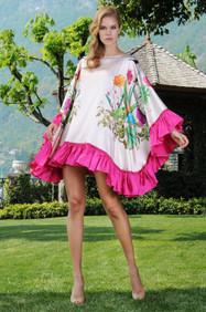 Silk Flowers Printed Kaftan Dress