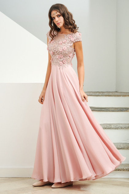 Hand Lace Trimmed Embroidered Chiffon Long Dress