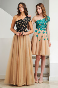 Nude and Black Lace Tulle Long Dress / Nude and Turquoise Lace Tulle  Dress