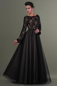 Black Nude Lace Tulle Dress