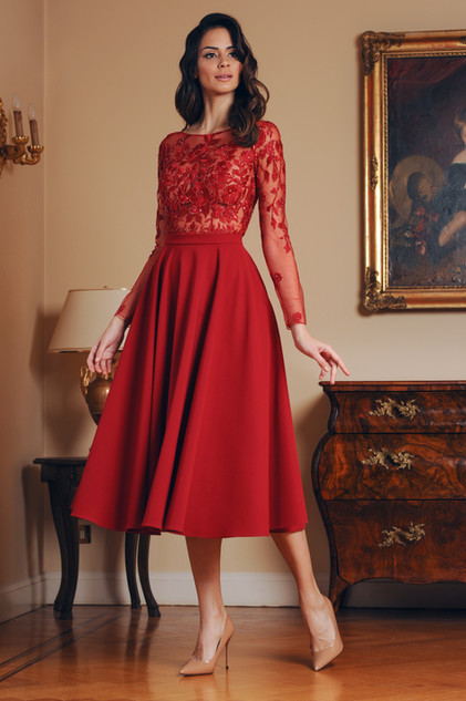 Embroidered Midi Lace Flare Skirt Dress