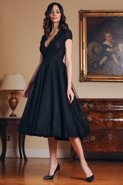 V Neck Lace Tulle Dress with Short Sleeves