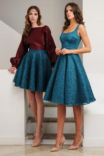 Organza Blouse with Lace Skirt / Mini Lace Dress