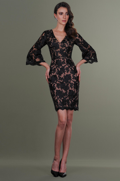 Black Hals Sleeces Lace Tulle Dress