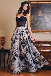 Tulle Bustier and Organza Flare Skirt