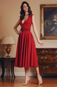 Midi Length Cady Flare Dress