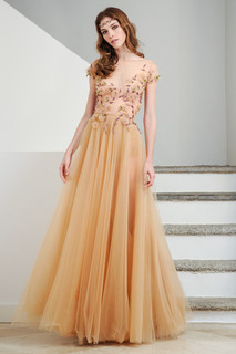 Hand Embroidered Nude Tulle Dress