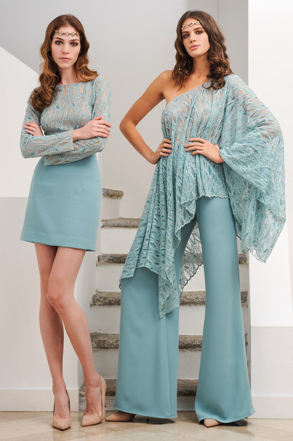 Lace Body with Cady Skirt / Lace Kaftan with Cady Pants