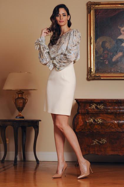 Chiffon Blouse and Crepe Skirt