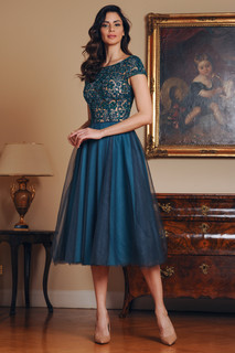Hand Embroidered Tulle Midi Dress