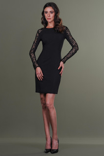 Long Sleeves Lace Crepe Dress