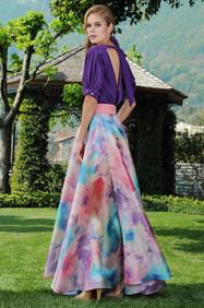 Long Organza Skirt and Crepe di Chine Blouse