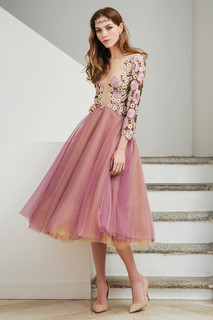 Midi Tulle Skirt Dress with Hand Application Lace Top