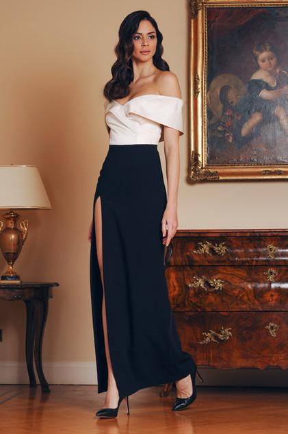 Off Duchess Bustier and Long Cady Skirt