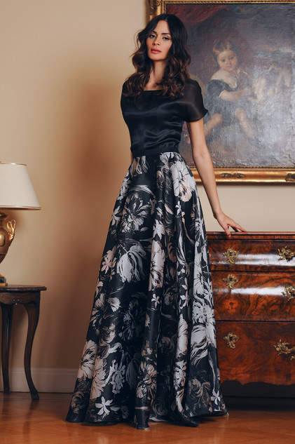 Silk Organza Blouse and Organza Flare Skirt