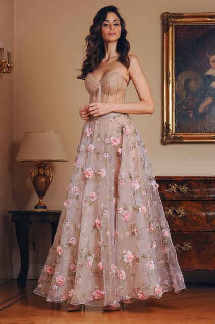 Tulle Bustier and Long 3D Organza Flowers Skirt