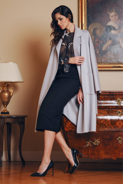 Cashmere Coat / Chiffon Blouse / Cady Skirt