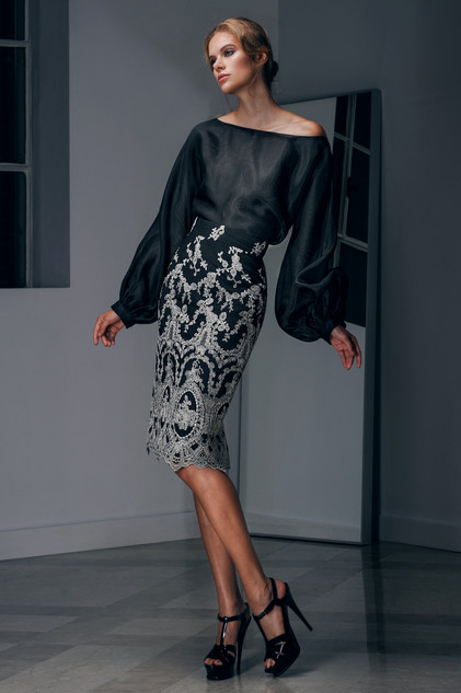 Silk Organza Blouse and Lace Skirt