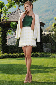 Cotton Macrame Jacket / Silk Crepe di Chine Blouse / Cotton Macrame Skirt